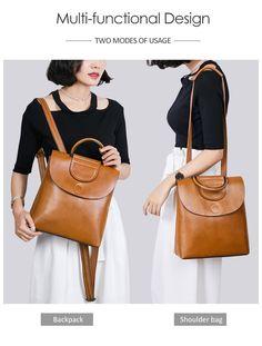 38b8e482ec35 45% СКИДКА|Классический для женщин рюкзак женский высокое качество масла  Воск кожа леди сумки на плечо сумка для колледжа ручка mochila Винтаж  XA406H купить ...
