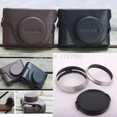 3ni1 1pcs Black Leather Camera Case Bag + Fujifilm Fuji X100 Finepix 1pcs Lens Hood Adapter Ring  + 1PCS 58MM Lens cap