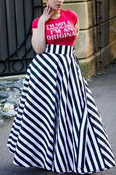 Plus Size Maxi Skirt Stripes plus size High by aconversationpiece