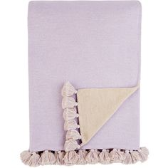 Alicia Adams Alpaca Pompom Throw ($795) ❤ liked on Polyvore featuring home, bed & bath, bedding, blankets, purple, baby alpaca blanket, purple throw blanket, pom pom throw blanket, purple throw and hypoallergenic blanket
