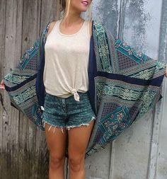 Trendy Batwing Sleeve Collarless Chiffon Printed Kimono For Women