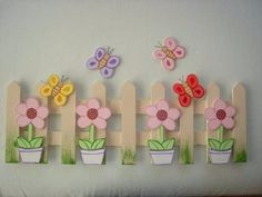 Welcome Sign Craft Kit. Spring crafts for children. Popsicle Stick Crafts, Craft Stick Crafts, Preschool Crafts, Diy And Crafts, Crafts For Kids, Arts And Crafts, Lolly Stick Craft, Ice Cream Stick Craft, Bunny Crafts