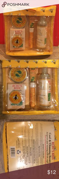 Burt's Bees 6 piece gift set Great gift set new in package and never opened includes: 4 oz Spearmint & Lime Body Wash, .47 oz peppermint foot lotion, 4 oz peppermint & rosemary body bar, beeswax lip balm, beeswax lip tin and peppermints Burt's Bees Makeup