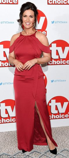 Lady in red: GMB golden girl Susanna arrived in a floor-length red satin gown, which featured a thigh-high slit and a peplum detail at the waist