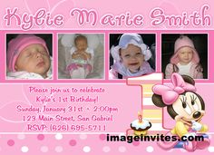 Minnie Mouse 1st Birthday Photo Invitation Disney Baby
