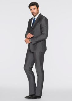 Kostuum slim fit, bpc selection, grijs gestreept