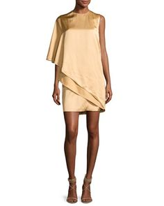 Kayla Draped One-Shoulder Dress, Sand by Ralph Lauren Collection at Bergdorf Goodman.