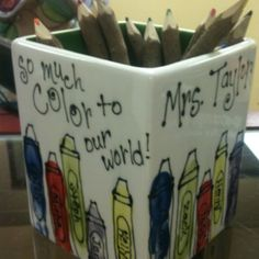 """You add so much color to our world"" - Fingerprint crayons for a teacher appreciation gift!"