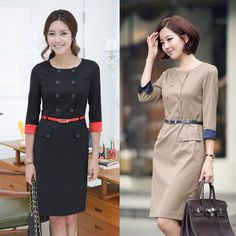 2014 new fashion korea casual high quality fabric upgraded women career office OL business formal suit dress+gift