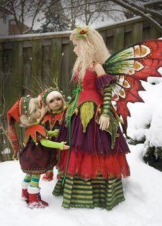 Boers costuming Moeder en kinderen.Vilt en stof.