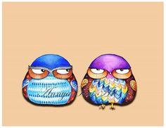 FREE SHIPPING - Grumpy Birds - Funny Cute Bird Owl Wall Art - Painting Print by Annya Kai