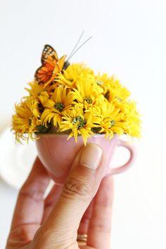 Yellow Paper Daisy Bouquet  Miniature Teacup