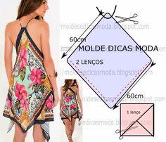 VESTIDO LENÇO FLORAL -88 - Moldes Moda por Medida