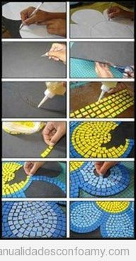 Mosaic Patterns For Beginners Simple Foam Crafts, Kids Crafts, Diy And Crafts, Arts And Crafts, Mosaic Art Projects, Mosaic Crafts, Mosaic Designs, Mosaic Patterns, Mosaic Glass