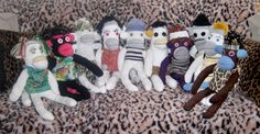 Meet our tribe of Upcyled Sock Monkeys- each and everyone is made from 100% discarded and recycled clothing. Visit us in Sock's Shop @ www.pepesherinadesigns.com Each And Everyone, Sock Monkeys, Sock Shop, Recycled Clothing, Upcycle, Recycling, Socks, Meet, Creative