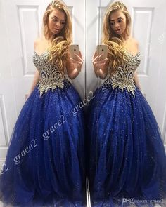 7d0798083f6 Sparkle Bling Bling Prom Dresses 2k19 Sweetheart Neck Blue Tulle Ball Gown  Quinceanera Gowns Lace Up Back Real Model Pictures Sweet 15