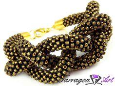Bransoletka szydełkowo koralikowa Seed Beads - Golden Diamonds | Tarragon Art - stylowa biżuteria artystyczna