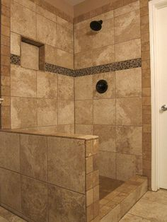 Travertine Shower With An Accent Of Glass Mosaic Tile Bathroom Pinterest Travertine Shower Glass Mosaic Tiles And Travertine