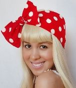 Bow Hair Tie - Minnie Mouse Red & White Polkadots Girly Theme pin up look
