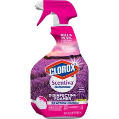 The Clorox 30 oz Scentiva Multi Surface Cleaner& Tuscan Lavender & Jasmine Cleaning Spray, Household Cleaning Supplies, Household Cleaners, Cleaning Products, Household Items, Clorox Spray, Disinfectant Spray, Bounty Paper Towels, Glazed Ceramic Tile