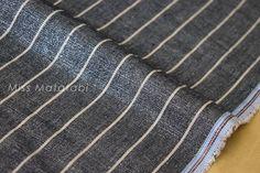 Japanese Fabric - Linen Shimmer Stripes - silver indigo blue - 50cm