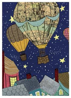 Hot Air Balloon Night Sky rooftops stars map -