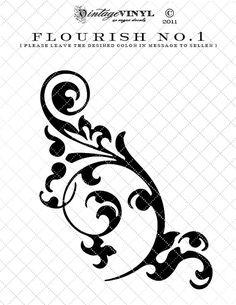 Flourish No.1 Vinyl Decal or Stencil -- 6 to 23 inch -- 35 colors