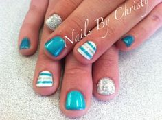 Turquoise Striped Silver Sparkle