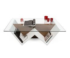 Mesa de centro en madera y vidrio Walt