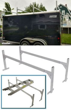 Get extra storage on your enclosed trailer with this Ladder Rack. Lawn Trailer, Camping Trailer Diy, Work Trailer, Cargo Trailer Camper, Trailer Plans, Trailer Build, Utility Trailer, Ladder Racks, Ladder Storage