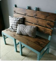 2 re-purposed dining chairs to create a bench.