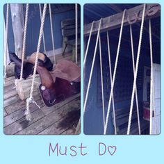 Initial ideas for the saddle swing. Saddle Swing, Kids Saddle, Horse Swing, Backyard Projects, Outdoor Projects, Projects For Kids, Outdoor Decor, Log Cabin Exterior, Kids Swing