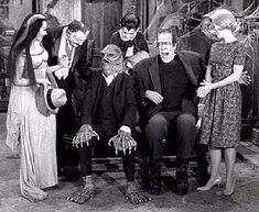 "The Munsters. I love seeing all the ""relatives"" who were my favorite Universal Monsters. Creature From the Black Lagoon, they even had a cousin Phantom of the Opera! The Munsters, Munsters Tv Show, Munsters Grandpa, Munsters House, La Familia Munster, Los Addams, Munster Family, Rockabilly, Movies"
