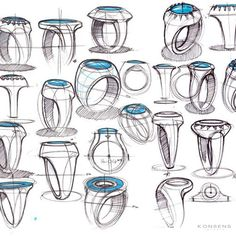 Sketches of rings by designer Spencer Nugent Ring Sketch, Sketch A Day, Cool Sketches, Drawing Sketches, Drawings, Sketching, Volume Art, Logos Retro, Jewelry Design Drawing