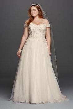Oleg Cassini Tulle Plus Size Wedding Dress 8CWG729