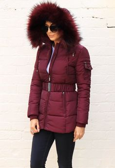 Piper Quilted Longline Hooded Puffer Coat with Faux Fur Trim & Belt in Burgundy Red - One Nation Clothing Puffer Coat With Fur, Latest Fashion For Women, Womens Fashion, Fashion Trends, First Nations, Playsuits, Fur Trim, Online Boutiques, Faux Fur
