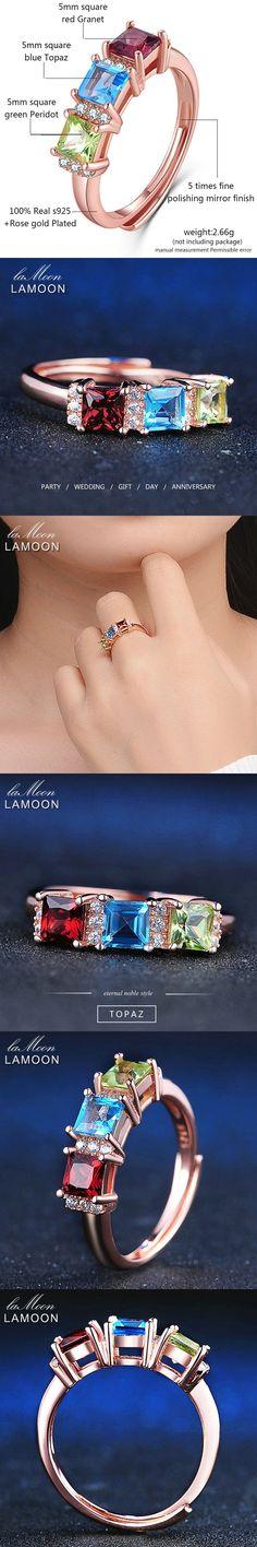 LAMOON Ful Garnet Peridot Topaz Rings 925 Sterling Silver Jewelry Rose Ring For Women Natural Gemstone Fashion Jewelry