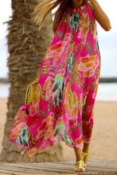 Casual Colorful Floral Printed Sleeveless Chiffon Maxi Dress For Women Maxi Dresses | RoseGal.com Mobile