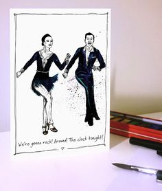 Hand painted/drawn image using dip pen and water colour of two people dancing. Perfect for any dancer for any occasion if left blank but can be completely customised! On luxury hammer textured card with envelope and lining inside: x Square x People Dancing, Dip Pen, Ballroom Dancing, Dance Photos, Projects To Try, Clock, Hand Painted, Texture, Trending Outfits
