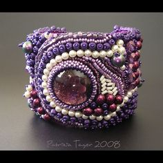 bead embroidered cuff bracelet    Purple Balagan 02 by Triz Designs on Flickr.