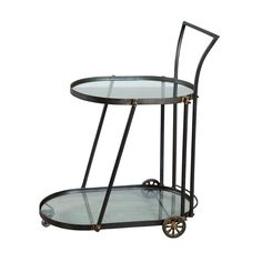 Happy hour is even happier when you're mixing drinks from this sleek, yet rugged, bar cart. Two oval glass tiers are fitted into a tough-as-nails steel frame that rolls easily to wherever the party is....  Find the Elinor Bar Cart, as seen in the Members Only Collection at http://dotandbo.com/collections/members-only?utm_source=pinterest&utm_medium=organic&db_sku=89150