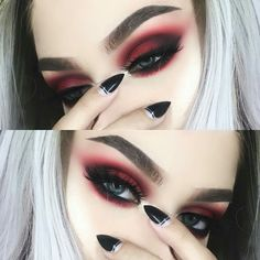 Gorgeous Makeup: Tips and Tricks With Eye Makeup and Eyeshadow – Makeup Design Ideas Red Eye Makeup, Skin Makeup, Beauty Makeup, Hair Beauty, Makeup Eyeshadow, Red And Black Eye Makeup, Makeup Style, Eyeshadow Palette, Dark Makeup Looks