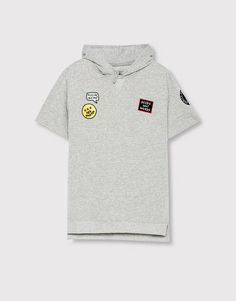Pull&Bear - man - back to school - short-sleeve sweatshirt with patches…