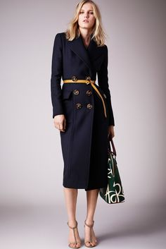 Burberry Prorsum Resort 2015 - Collection - Gallery - Style.com. CUP & PENNY: Yellow + navy blue, beautiful belt, beautiful coat but maybe with puffier gathered sleeves.