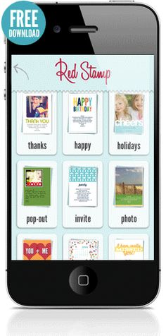 Red Stamp: Send personalized cards, announcements, and invitations by e-mail, text, snail mail, and more.