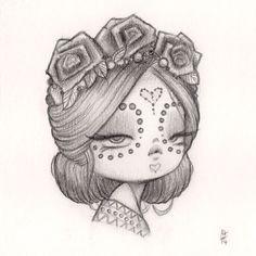 Original Pencil Drawing : Little Bride of Woe | Anarkitty | Pop Surrealist Artist