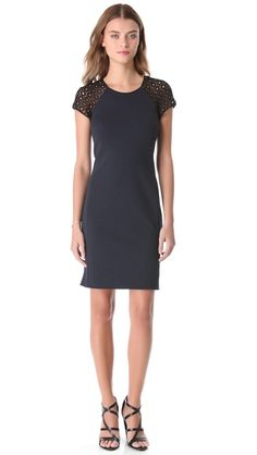 Rebecca Taylor Ponte & Lace Dress - Love the combo of navy and black + lace!