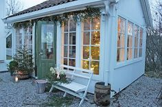 There are many ways to use your garden shed other than for gardening. You could use it as a workshop for building small pieces of furniture. Backyard Sheds, Outdoor Sheds, Backyard Retreat, Outdoor Spaces, Outdoor Living, Garden Cottage, Cozy Cottage, Home And Garden, Shed Building Plans