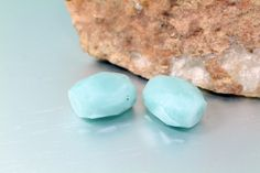 Faceted Genuine Amazonite Nuggets Approx. 15x18mm 2pcs by BeadtotheMax on Etsy