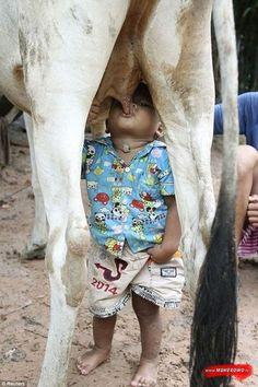 Got milk?  Pretty gross but a kids got to do what a kids got to do... lol